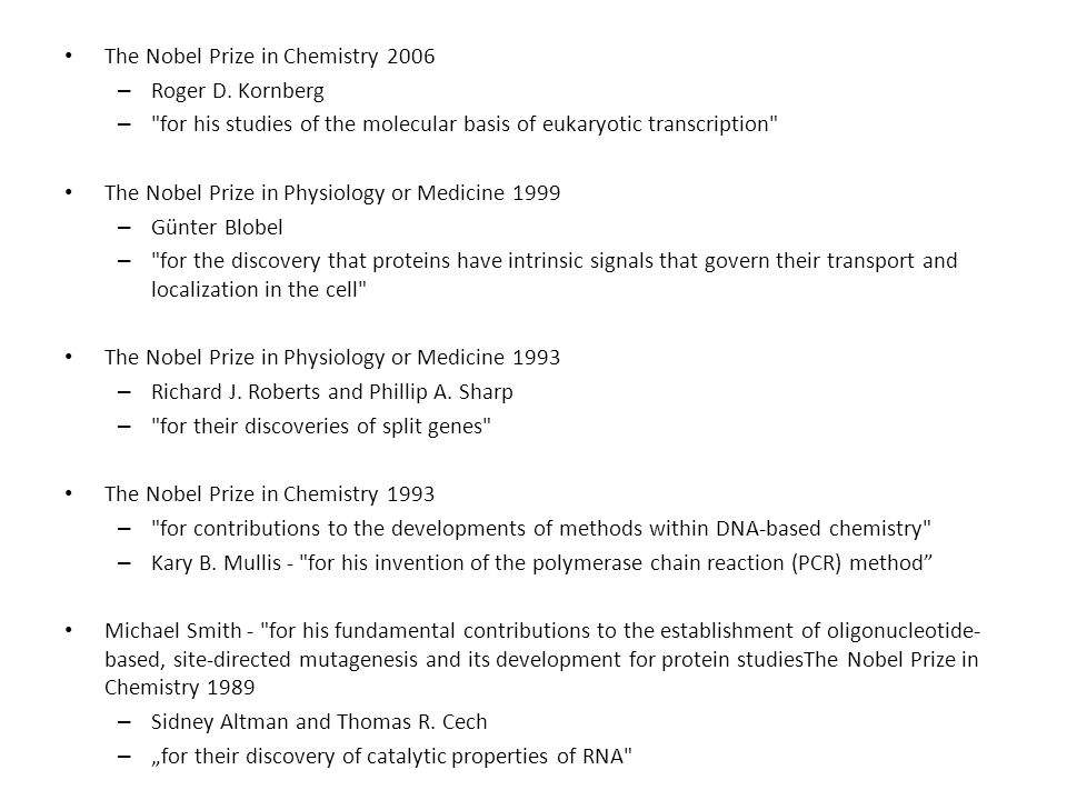 The Nobel Prize in Chemistry 2006 – Roger D. Kornberg –