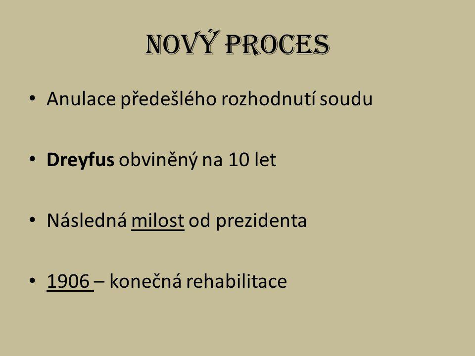 Nový proces Anulace předešlého rozhodnutí soudu Dreyfus obviněný na 10 let Následná milost od prezidenta 1906 – konečná rehabilitace