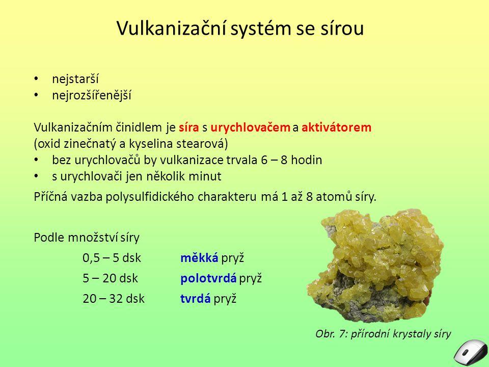 Vulkanizační systém se sírou Obr. 7: přírodní krystaly síry nejstarší nejrozšířenější Vulkanizačním činidlem je síra s urychlovačem a aktivátorem (oxi