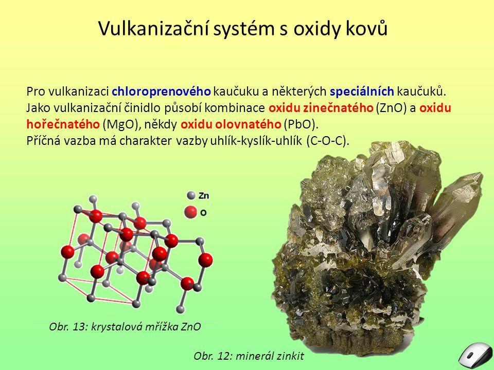 Vulkanizační systém s oxidy kovů Pro vulkanizaci chloroprenového kaučuku a některých speciálních kaučuků. Jako vulkanizační činidlo působí kombinace o