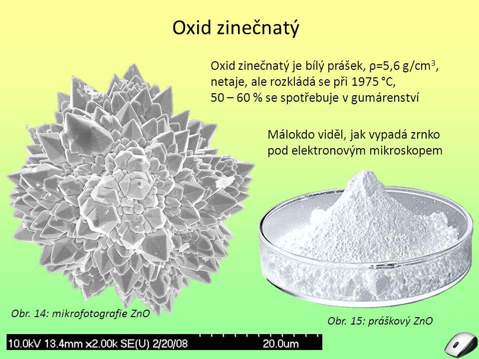 Oxid zinečnatý Oxid zinečnatý je bílý prášek, ρ=5,6 g/cm 3, netaje, ale rozkládá se při 1975 °C, 50 – 60 % se spotřebuje v gumárenství Obr. 14: mikrof