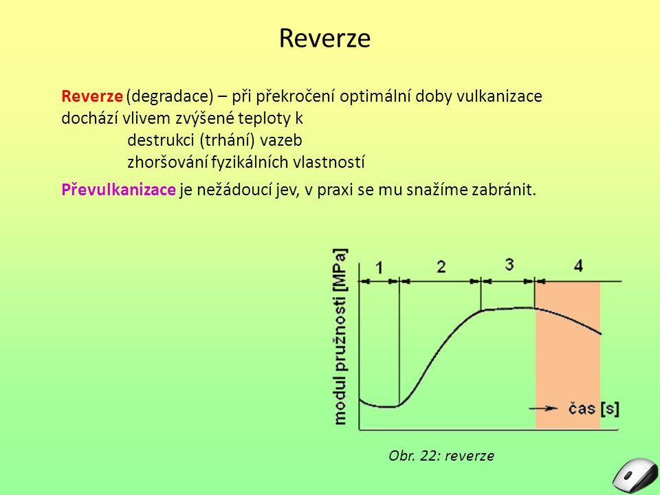 Reverze Reverze (degradace) – při překročení optimální doby vulkanizace dochází vlivem zvýšené teploty k destrukci (trhání) vazeb zhoršování fyzikální