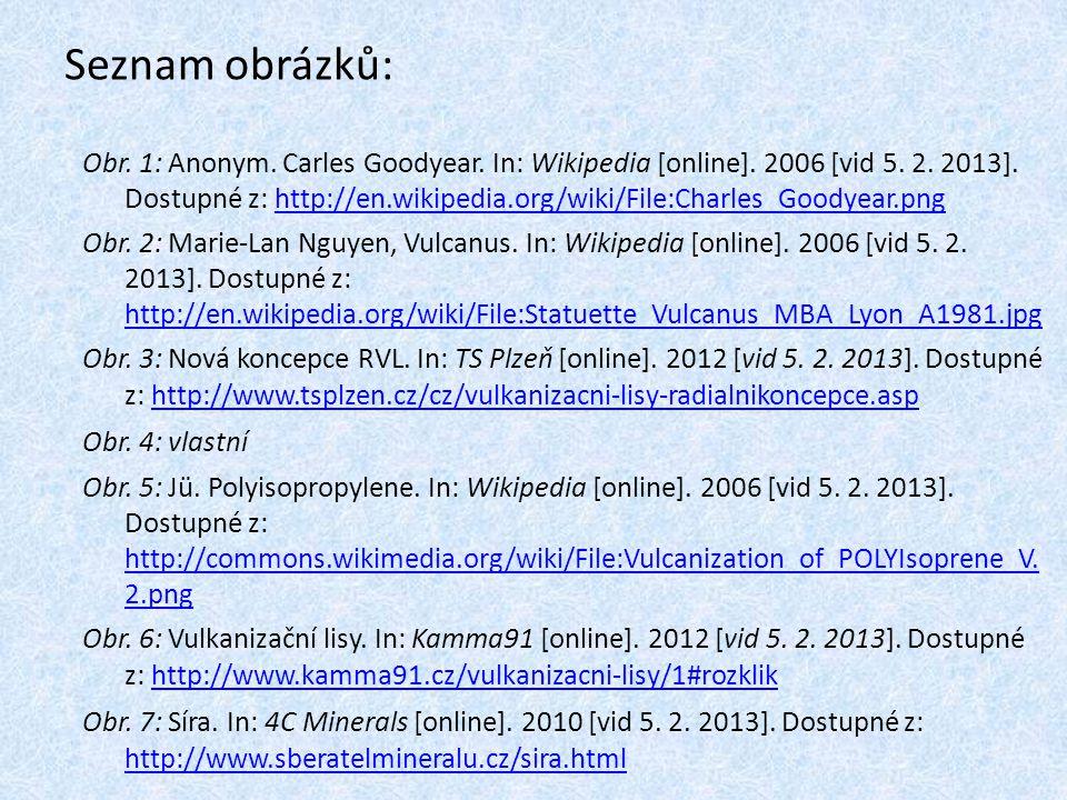 Seznam obrázků: Obr. 1: Anonym. Carles Goodyear. In: Wikipedia [online]. 2006 [vid 5. 2. 2013]. Dostupné z: http://en.wikipedia.org/wiki/File:Charles_
