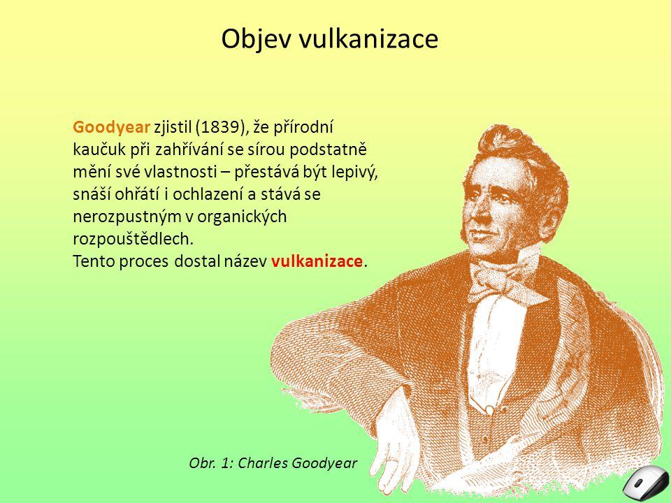 Objev vulkanizace Goodyear zjistil (1839), že přírodní kaučuk při zahřívání se sírou podstatně mění své vlastnosti – přestává být lepivý, snáší ohřátí