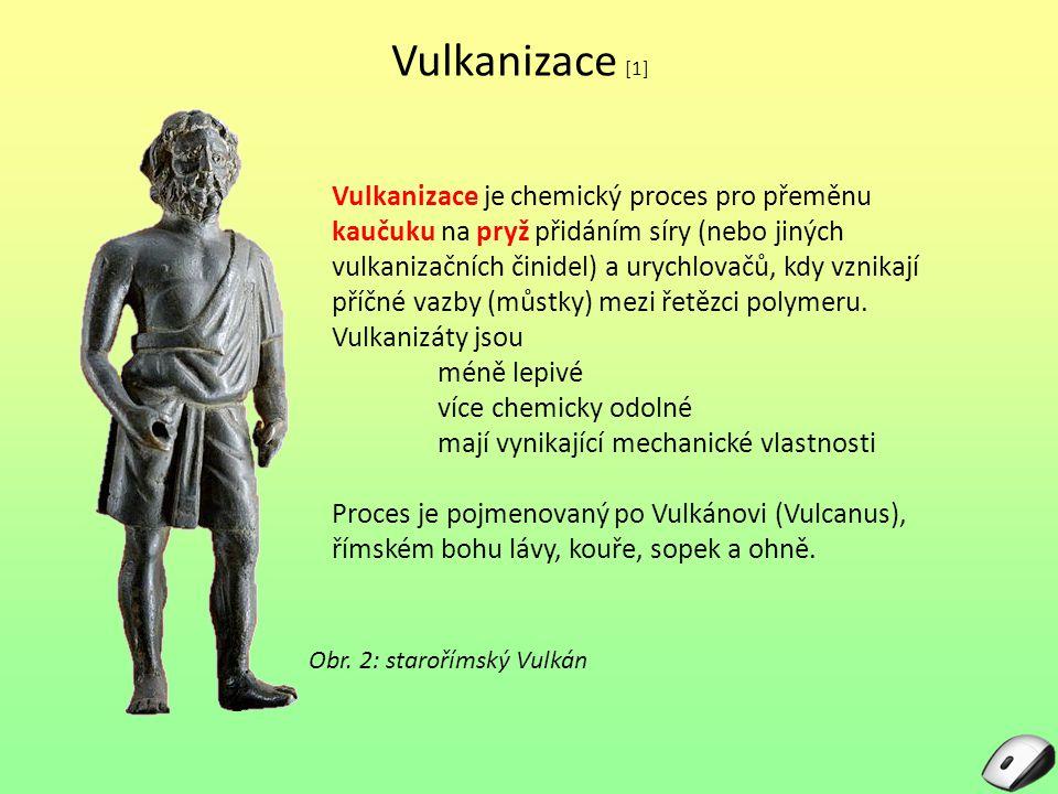 Vulkanizace [1] Vulkanizace je chemický proces pro přeměnu kaučuku na pryž přidáním síry (nebo jiných vulkanizačních činidel) a urychlovačů, kdy vznik