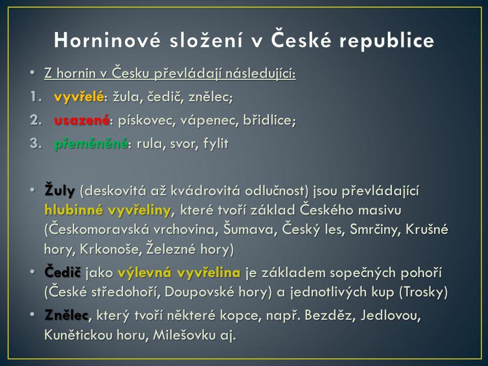 Z hornin v Česku převládají následující: Z hornin v Česku převládají následující: 1.vyvřelé: žula, čedič, znělec; 2.usazené: pískovec, vápenec, břidli