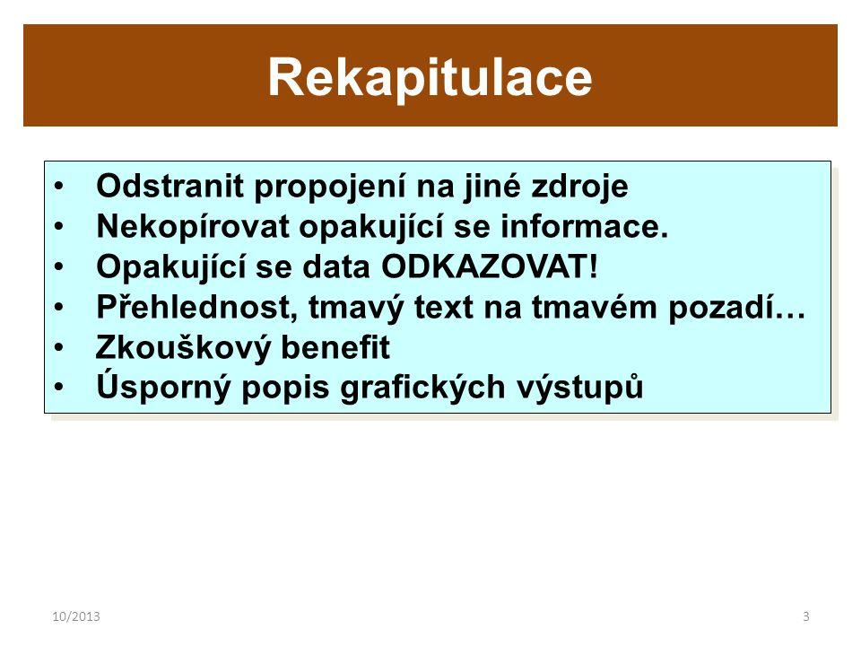 10/20133 Rekapitulace Odstranit propojení na jiné zdroje Nekopírovat opakující se informace.