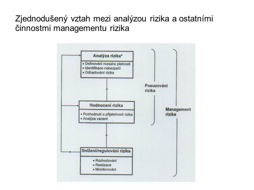 Zjednodušený vztah mezi analýzou rizika a ostatními činnostmi managementu rizika