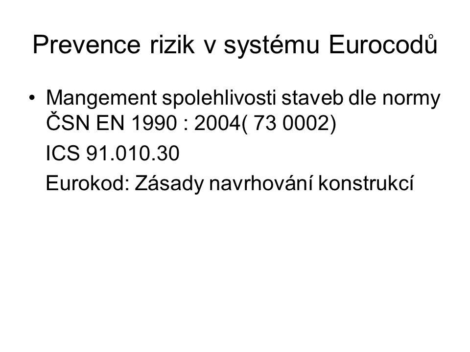 Prevence rizik v systému Eurocodů Mangement spolehlivosti staveb dle normy ČSN EN 1990 : 2004( 73 0002) ICS 91.010.30 Eurokod: Zásady navrhování konstrukcí