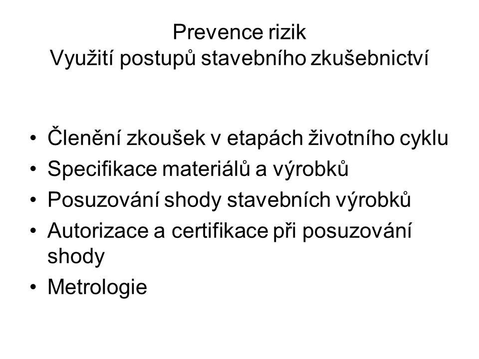 Prevence rizik Využití postupů stavebního zkušebnictví Členění zkoušek v etapách životního cyklu Specifikace materiálů a výrobků Posuzování shody stavebních výrobků Autorizace a certifikace při posuzování shody Metrologie