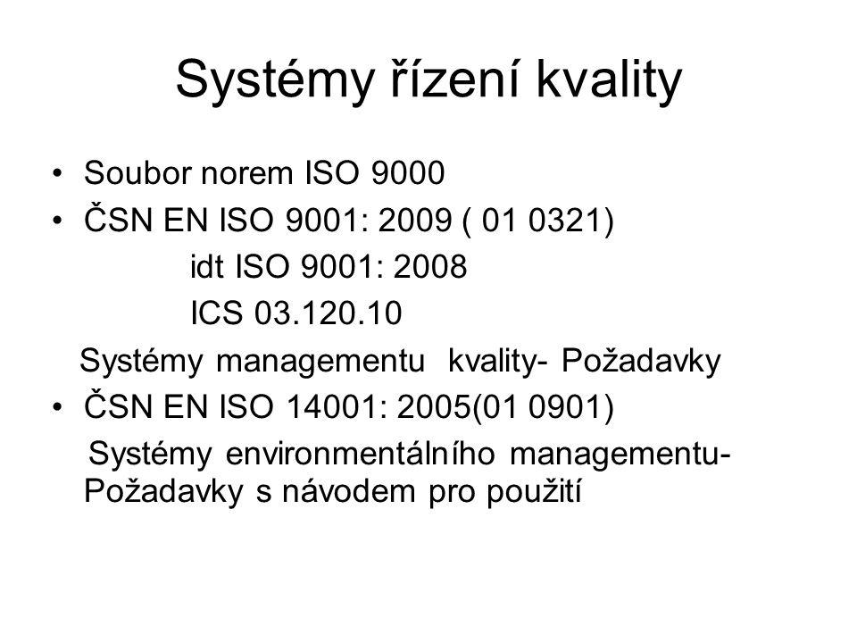 Systémy řízení kvality Soubor norem ISO 9000 ČSN EN ISO 9001: 2009 ( 01 0321) idt ISO 9001: 2008 ICS 03.120.10 Systémy managementu kvality- Požadavky ČSN EN ISO 14001: 2005(01 0901) Systémy environmentálního managementu- Požadavky s návodem pro použití