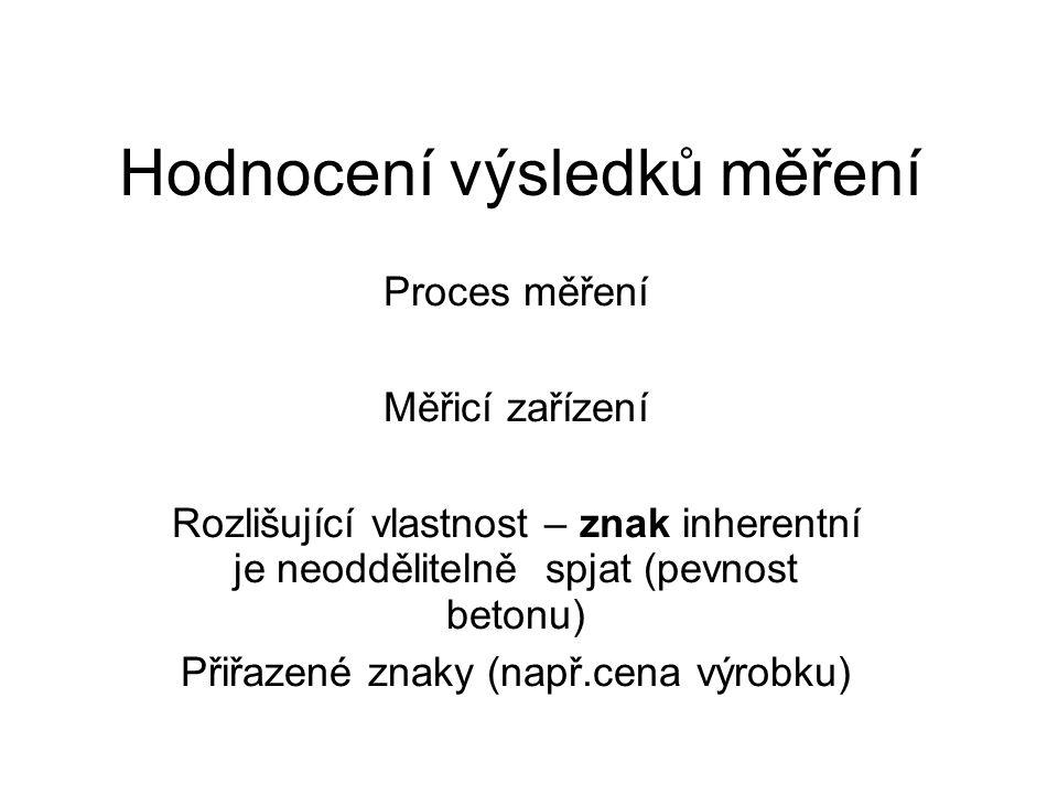 Hodnocení výsledků měření Proces měření Měřicí zařízení Rozlišující vlastnost – znak inherentní je neoddělitelně spjat (pevnost betonu) Přiřazené znaky (např.cena výrobku)