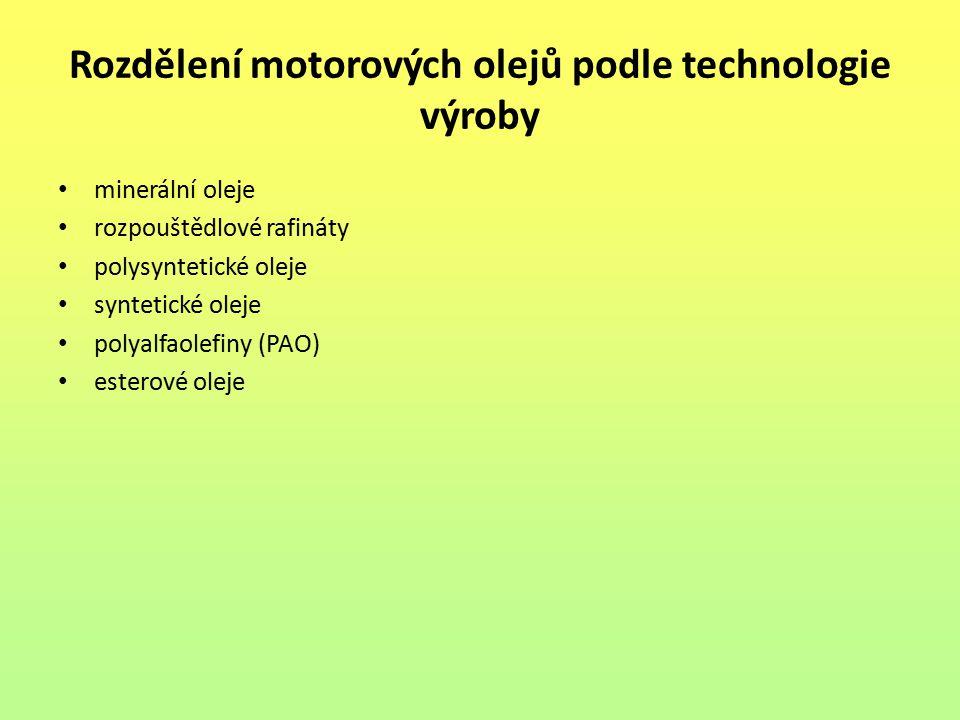 Rozdělení motorových olejů podle technologie výroby minerální oleje rozpouštědlové rafináty polysyntetické oleje syntetické oleje polyalfaolefiny (PAO