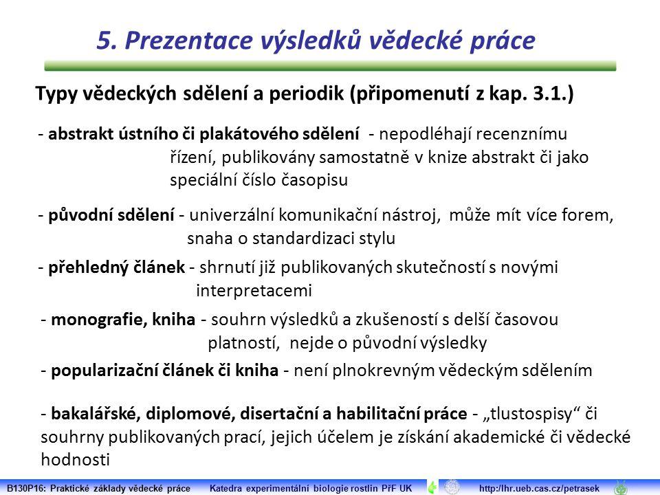 Typy vědeckých sdělení a periodik (připomenutí z kap. 3.1.) - abstrakt ústního či plakátového sdělení - nepodléhají recenznímu řízení, publikovány sam