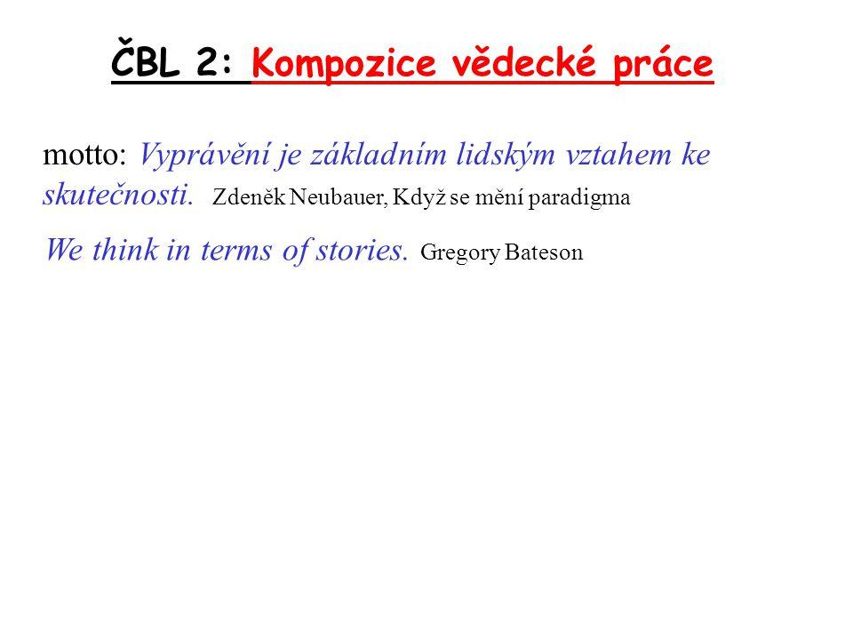 ČBL 2: Kompozice vědecké práce věcná stránka komunikační stránka zkoumaný vědecký problém: teorie, soubor pozorování...
