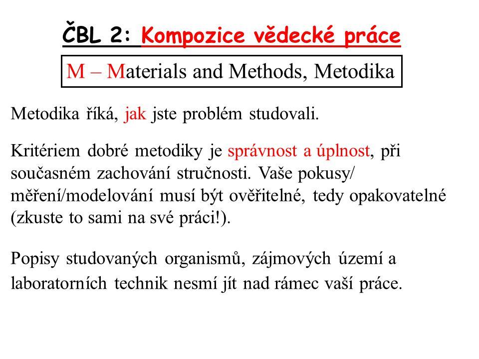 ČBL 2: Kompozice vědecké práce M – Materials and Methods, Metodika Kritériem dobré metodiky je správnost a úplnost, při současném zachování stručnosti.