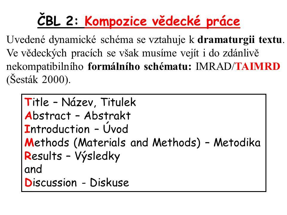 ČBL 2: Kompozice vědecké práce T – Title, Název, Titulek Stručný, přesný, věcný.