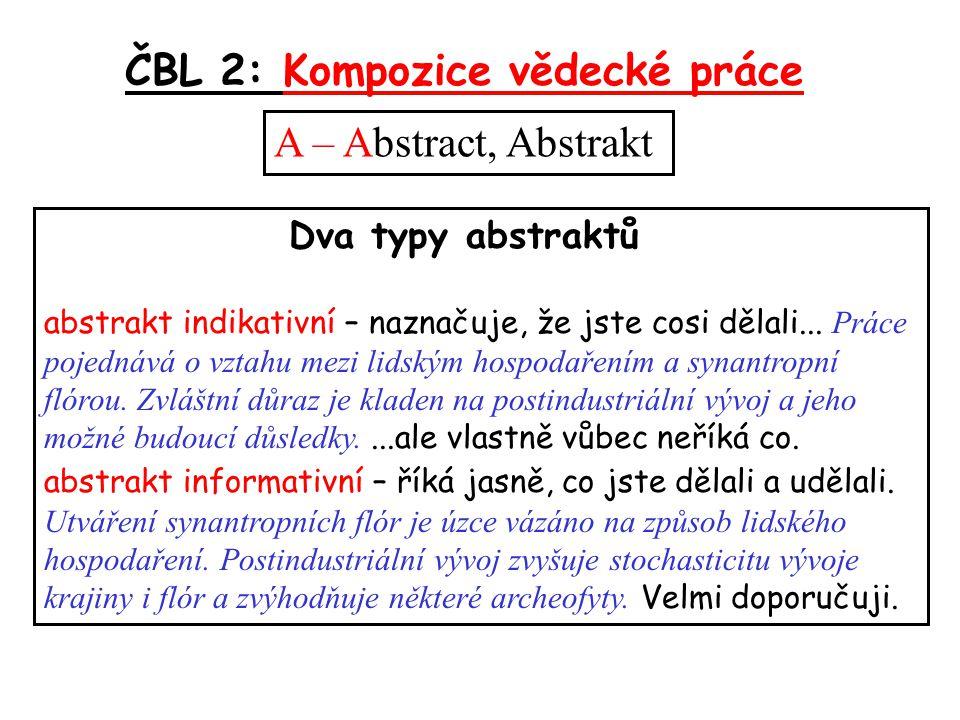ČBL 2: Kompozice vědecké práce A – Abstract, Abstrakt Dva typy abstraktů abstrakt indikativní – naznačuje, že jste cosi dělali...