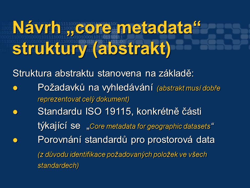 """Návrh """"core metadata Návrh """"core metadata struktury (abstrakt) struktury (abstrakt) Struktura abstraktu stanovena na základě: Požadavků na vyhledávání (abstrakt musí dobře reprezentovat celý dokument) Požadavků na vyhledávání (abstrakt musí dobře reprezentovat celý dokument) Standardu ISO 19115, konkrétně části týkající se """" Core metadata for geographic datasets Standardu ISO 19115, konkrétně části týkající se """" Core metadata for geographic datasets Porovnání standardů pro prostorová data (z důvodu identifikace požadovaných položek ve všech standardech) Porovnání standardů pro prostorová data (z důvodu identifikace požadovaných položek ve všech standardech)"""