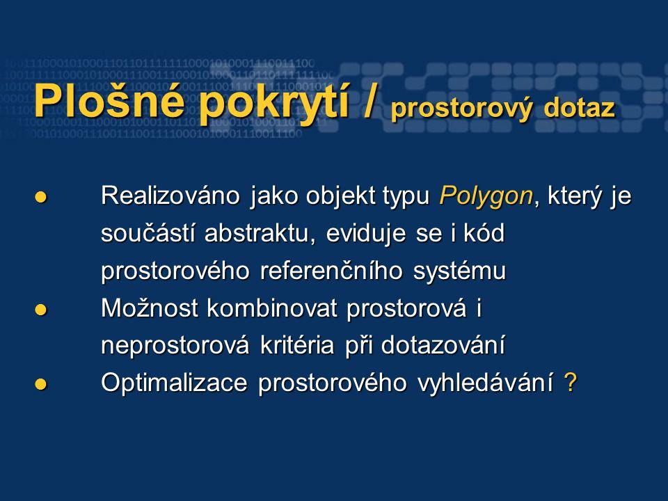 Plošné pokrytí / prostorový dotaz Plošné pokrytí / prostorový dotaz Realizováno jako objekt typu Polygon, který je součástí abstraktu, eviduje se i kód prostorového referenčního systému Realizováno jako objekt typu Polygon, který je součástí abstraktu, eviduje se i kód prostorového referenčního systému Možnost kombinovat prostorová i neprostorová kritéria při dotazování Možnost kombinovat prostorová i neprostorová kritéria při dotazování Optimalizace prostorového vyhledávání .