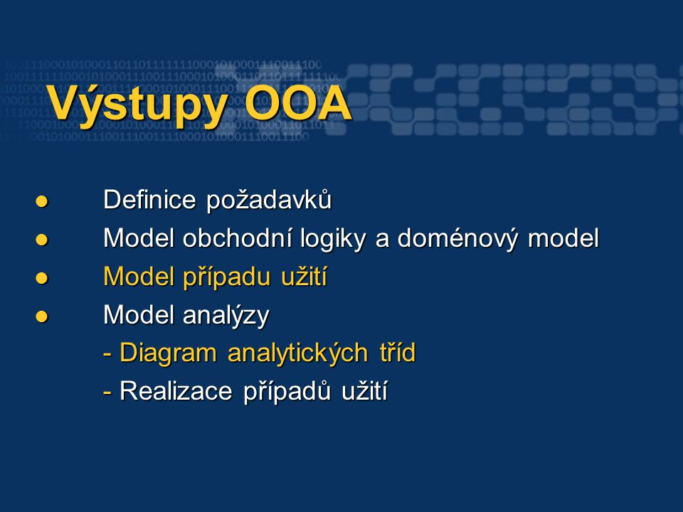 Výstupy OOA Výstupy OOA Definice požadavků Definice požadavků Model obchodní logiky a doménový model Model obchodní logiky a doménový model Model případu užití Model případu užití Model analýzy - Diagram analytických tříd Model analýzy - Diagram analytických tříd - Realizace případů užití