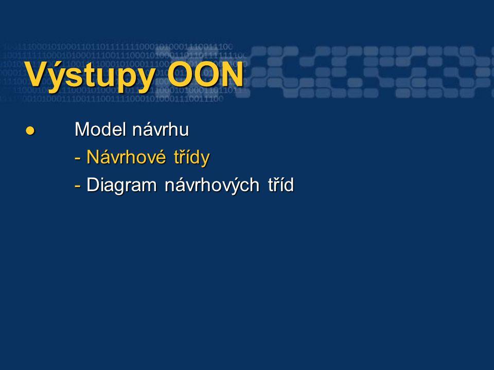 Výstupy OON Výstupy OON Model návrhu - Návrhové třídy - Diagram návrhových tříd Model návrhu - Návrhové třídy - Diagram návrhových tříd