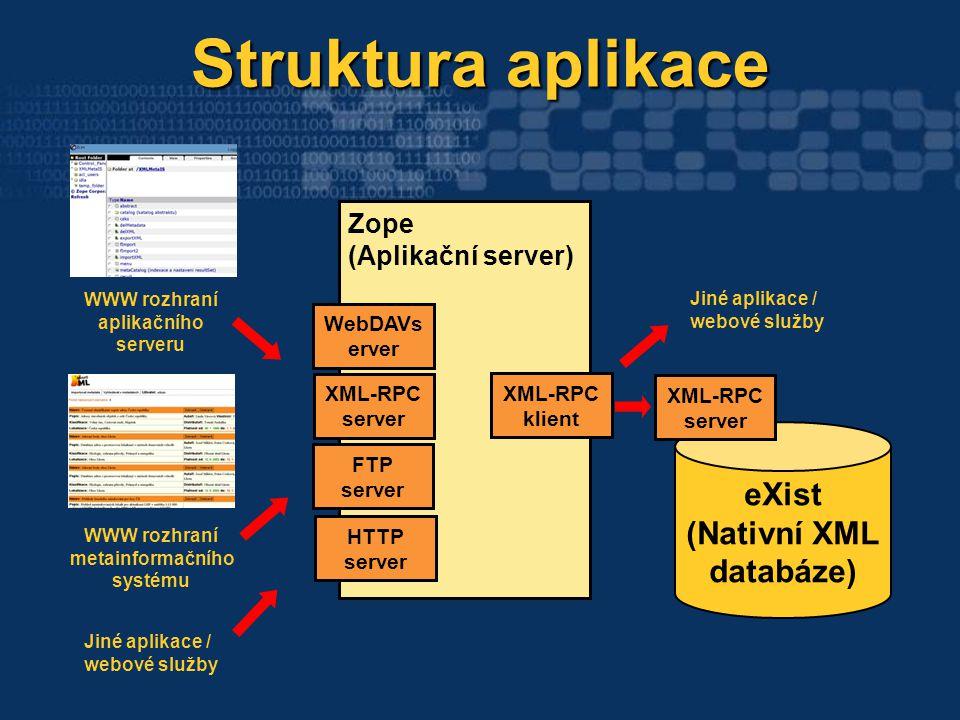 Zope (Aplikační server) Struktura aplikace Struktura aplikace eXist (Nativní XML databáze) XML-RPC klient XML-RPC server HTTP server WWW rozhraní apli