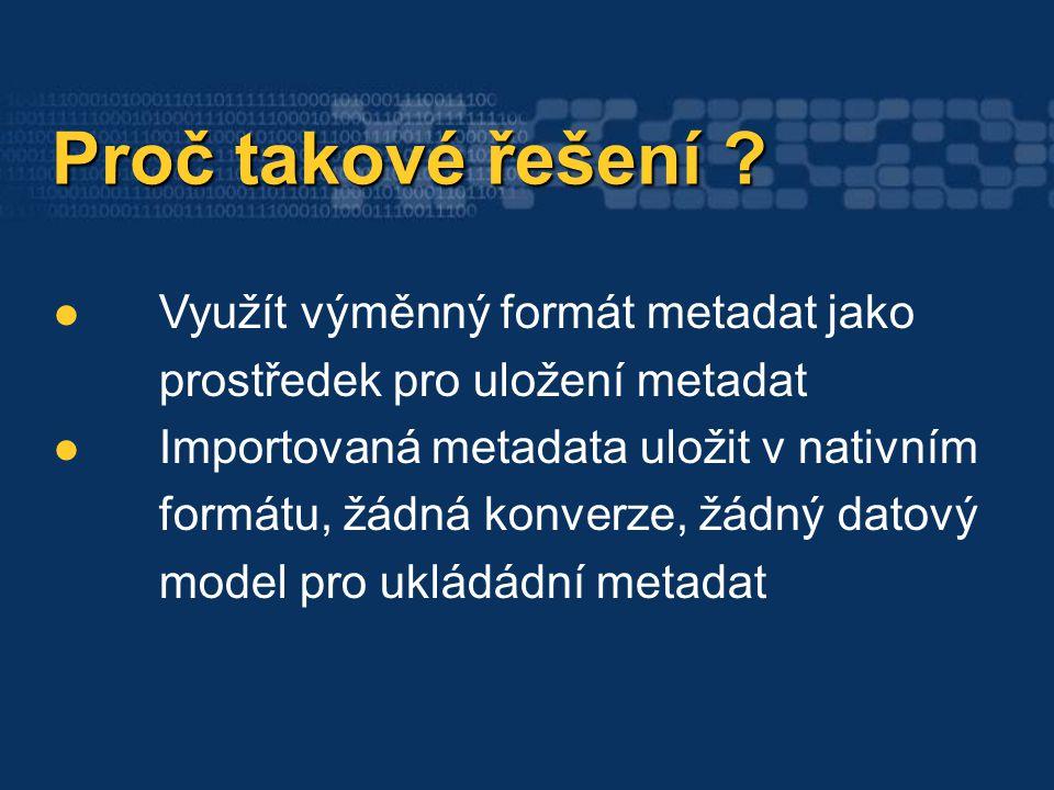 Metainformační systém Metainformační systém Zajištění organizované správy metadat Zajištění organizované správy metadat Využití standardů pro metadata Využití standardů pro metadata Vyhledávání v metadatech (název, klíčová slova, popis, plošné pokrytí) Vyhledávání v metadatech (název, klíčová slova, popis, plošné pokrytí) Schopnost importovat a exportovat metadata ve výměnném formátu Schopnost importovat a exportovat metadata ve výměnném formátu Zabezpečení metadat Zabezpečení metadat … …
