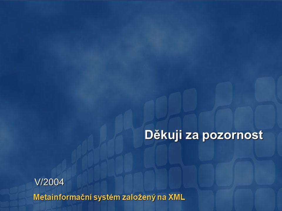 Metainformační systém založený na XML Děkuji za pozornost V/2004