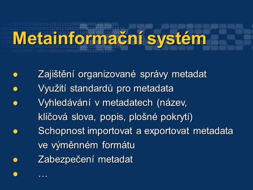 Metainformační systém Metainformační systém Zajištění organizované správy metadat Zajištění organizované správy metadat Využití standardů pro metadata