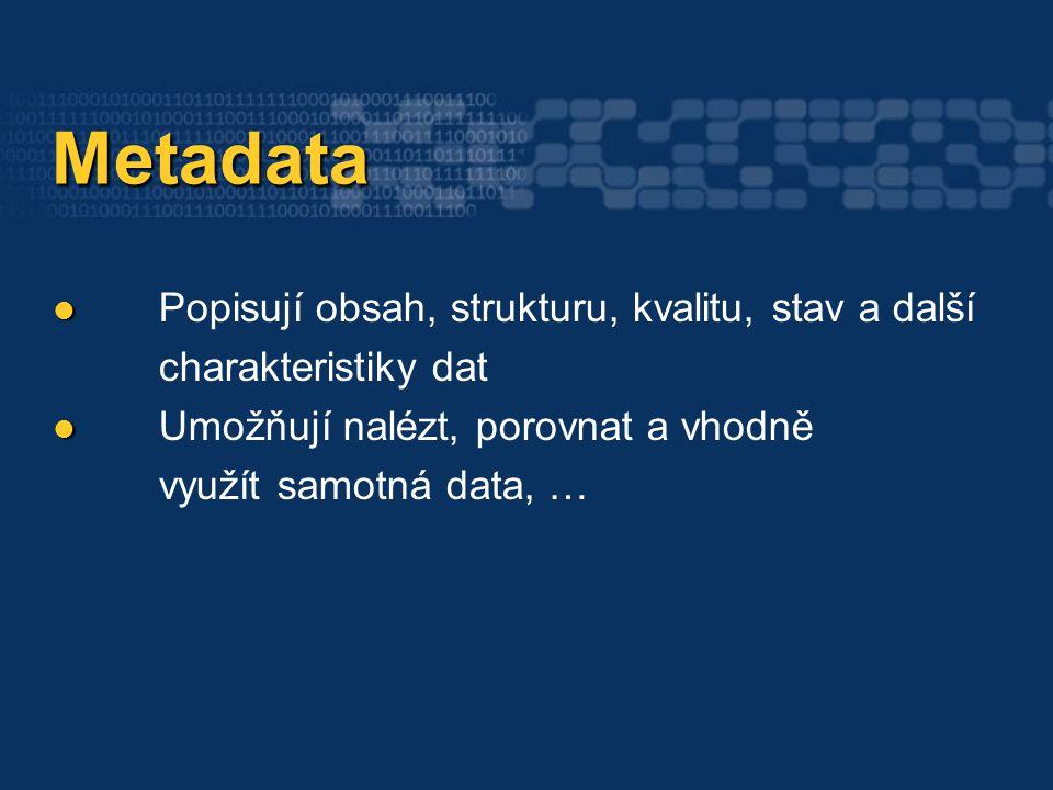 Metadata Metadata Popisují obsah, strukturu, kvalitu, stav a další charakteristiky dat Umožňují nalézt, porovnat a vhodně využít samotná data, …