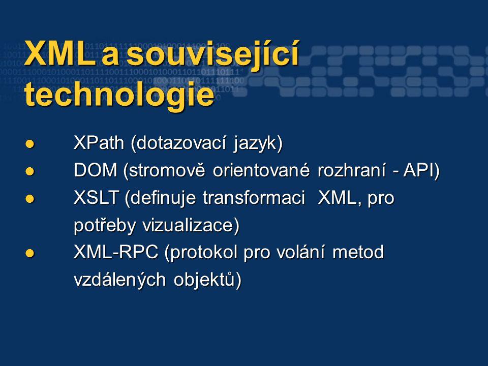 XML a související XML a související technologie technologie XPath (dotazovací jazyk) XPath (dotazovací jazyk) DOM (stromově orientované rozhraní - API
