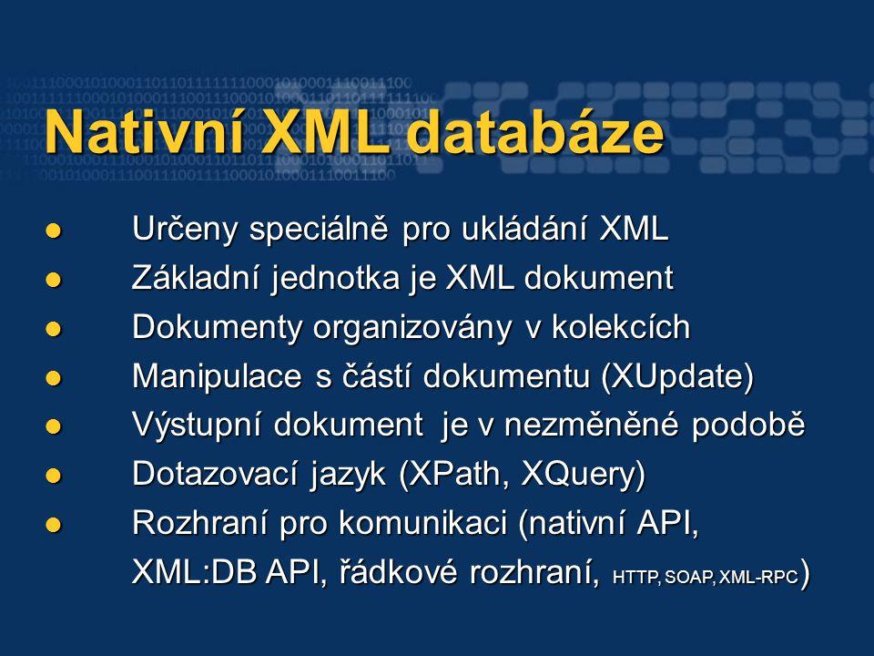 Nativní XML databáze Nativní XML databáze Určeny speciálně pro ukládání XML Určeny speciálně pro ukládání XML Základní jednotka je XML dokument Základ