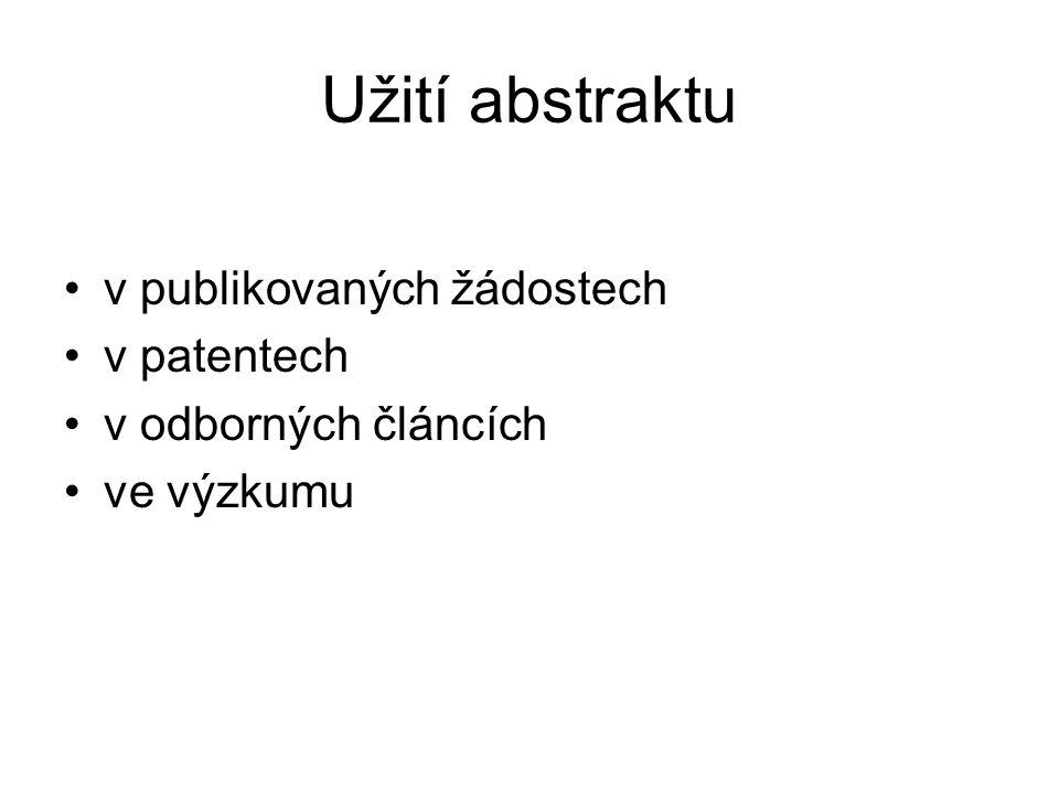 Užití abstraktu v publikovaných žádostech v patentech v odborných článcích ve výzkumu