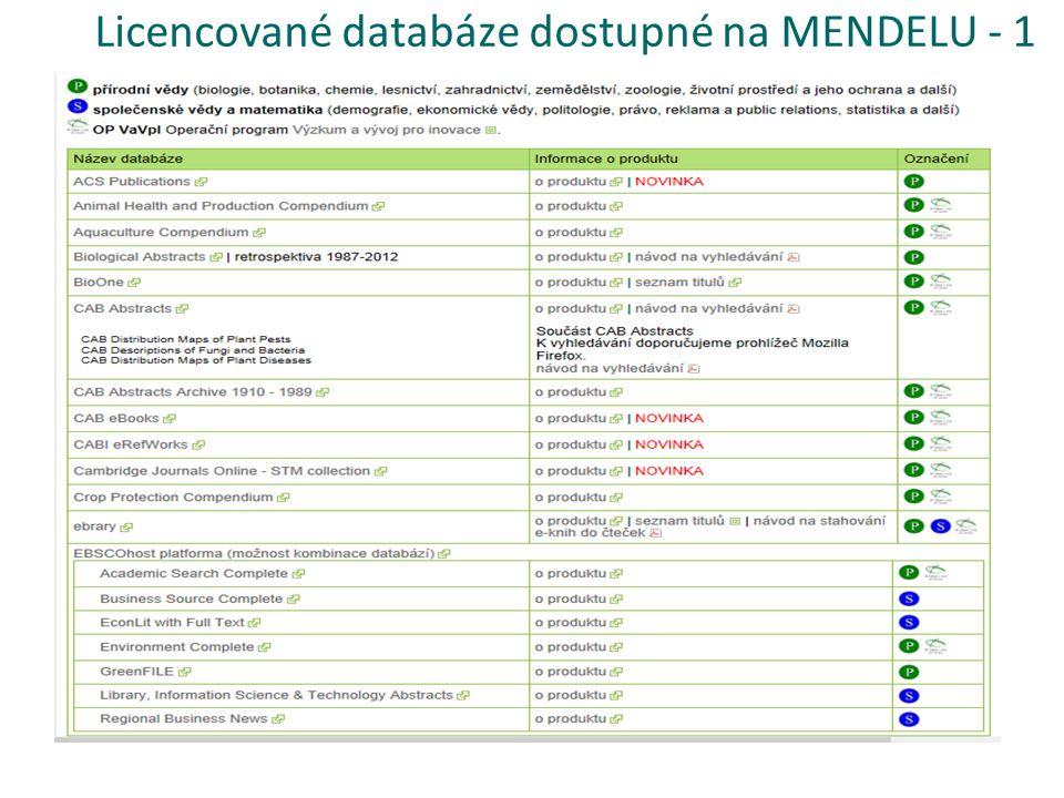 Licencované databáze dostupné na MENDELU - 1