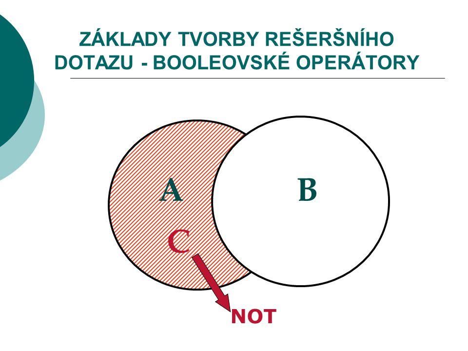 ZÁKLADY TVORBY REŠERŠNÍHO DOTAZU - BOOLEOVSKÉ OPERÁTORY NOT AB C