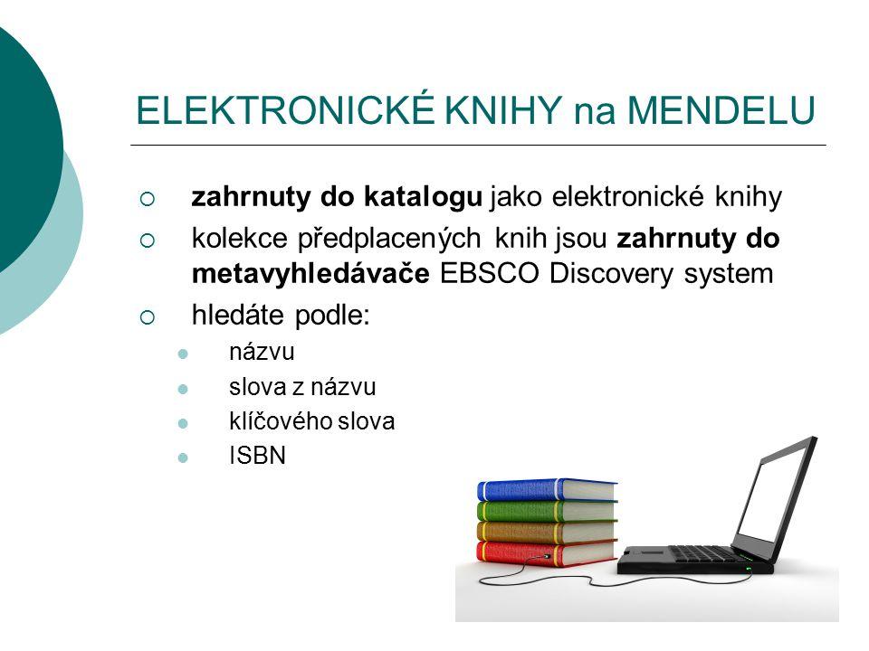 ELEKTRONICKÉ KNIHY na MENDELU  zahrnuty do katalogu jako elektronické knihy  kolekce předplacených knih jsou zahrnuty do metavyhledávače EBSCO Discovery system  hledáte podle: názvu slova z názvu klíčového slova ISBN