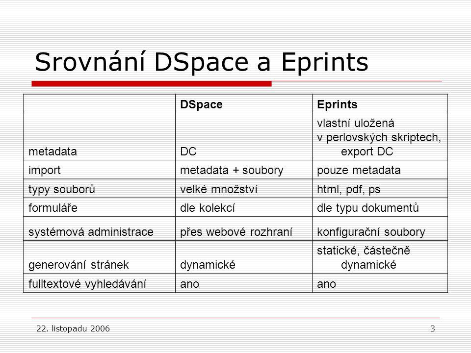 22. listopadu 20063 Srovnání DSpace a Eprints DSpaceEprints metadataDC vlastní uložená v perlovských skriptech, export DC importmetadata + souborypouz