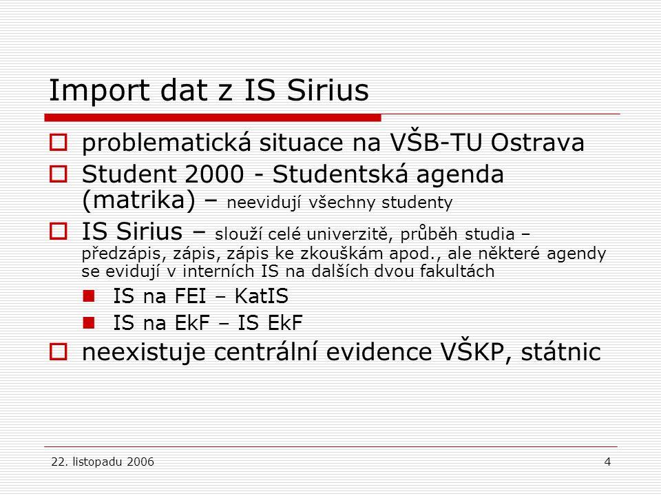 22. listopadu 20064 Import dat z IS Sirius  problematická situace na VŠB-TU Ostrava  Student 2000 - Studentská agenda (matrika) – neevidují všechny