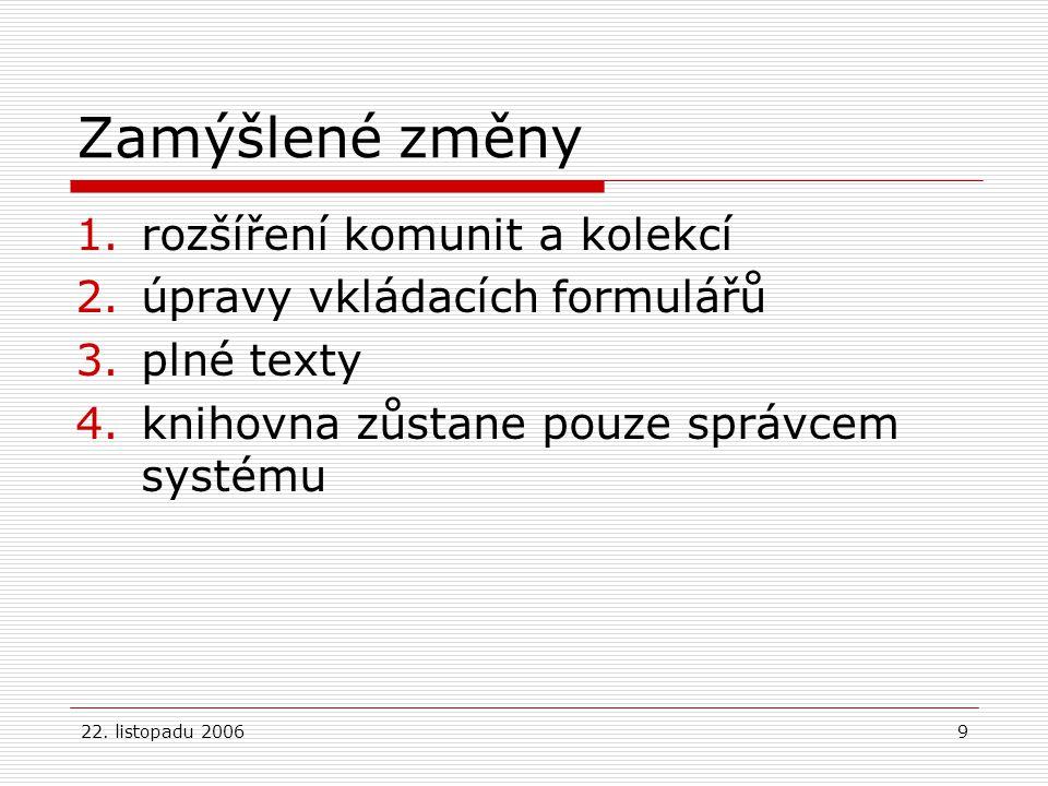 22. listopadu 20069 Zamýšlené změny 1.rozšíření komunit a kolekcí 2.úpravy vkládacích formulářů 3.plné texty 4.knihovna zůstane pouze správcem systému