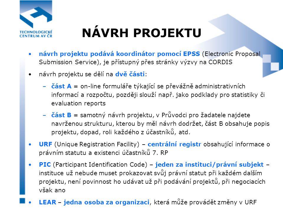 NÁVRH PROJEKTU návrh projektu podává koordinátor pomocí EPSS (Electronic Proposal Submission Service), je přístupný přes stránky výzvy na CORDIS návrh projektu se dělí na dvě části: –část A = on-line formuláře týkající se převážně administrativních informací a rozpočtu, později slouží např.