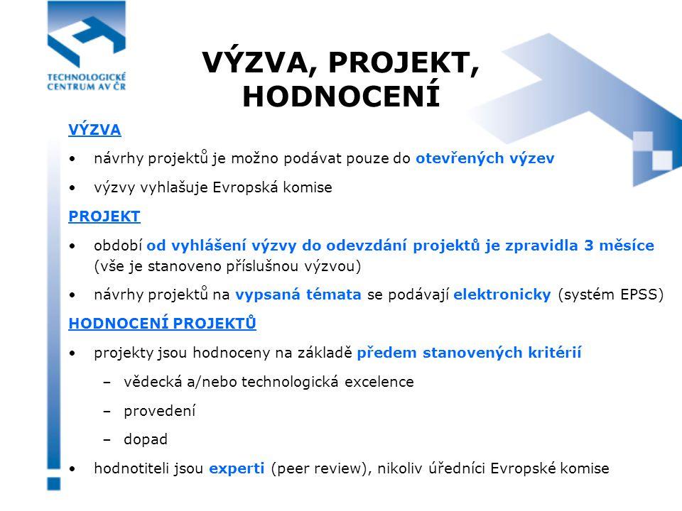 VÝZVA, PROJEKT, HODNOCENÍ VÝZVA návrhy projektů je možno podávat pouze do otevřených výzev výzvy vyhlašuje Evropská komise PROJEKT období od vyhlášení výzvy do odevzdání projektů je zpravidla 3 měsíce (vše je stanoveno příslušnou výzvou) návrhy projektů na vypsaná témata se podávají elektronicky (systém EPSS) HODNOCENÍ PROJEKTŮ projekty jsou hodnoceny na základě předem stanovených kritérií –vědecká a/nebo technologická excelence –provedení –dopad hodnotiteli jsou experti (peer review), nikoliv úředníci Evropské komise