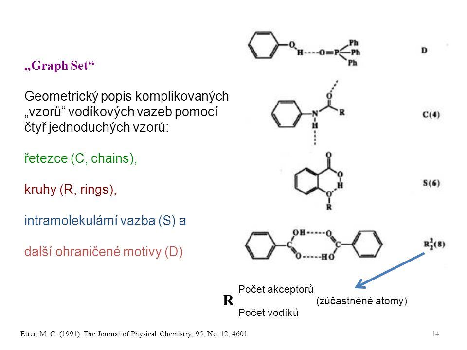 """""""Graph Set Geometrický popis komplikovaných """"vzorů vodíkových vazeb pomocí čtyř jednoduchých vzorů: řetezce (C, chains), kruhy (R, rings), intramolekulární vazba (S) a další ohraničené motivy (D) Počet vodíků Počet akceptorů R (zúčastněné atomy) Etter, M."""