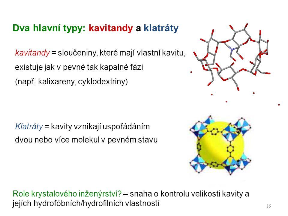 Dva hlavní typy: kavitandy a klatráty 16 kavitandy = sloučeniny, které mají vlastní kavitu, existuje jak v pevné tak kapalné fázi (např.