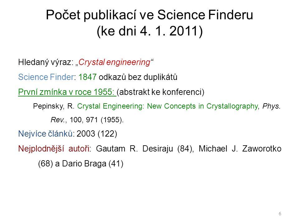 """Hledaný výraz: """"Crystal engineering Science Finder: 1847 odkazů bez duplikátů První zmínka v roce 1955: (abstrakt ke konferenci) Pepinsky, R."""