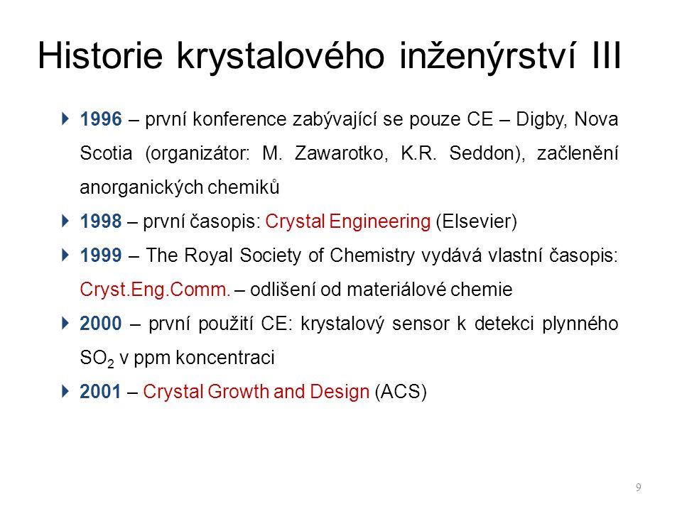 Historie krystalového inženýrství III  1996 – první konference zabývající se pouze CE – Digby, Nova Scotia (organizátor: M.