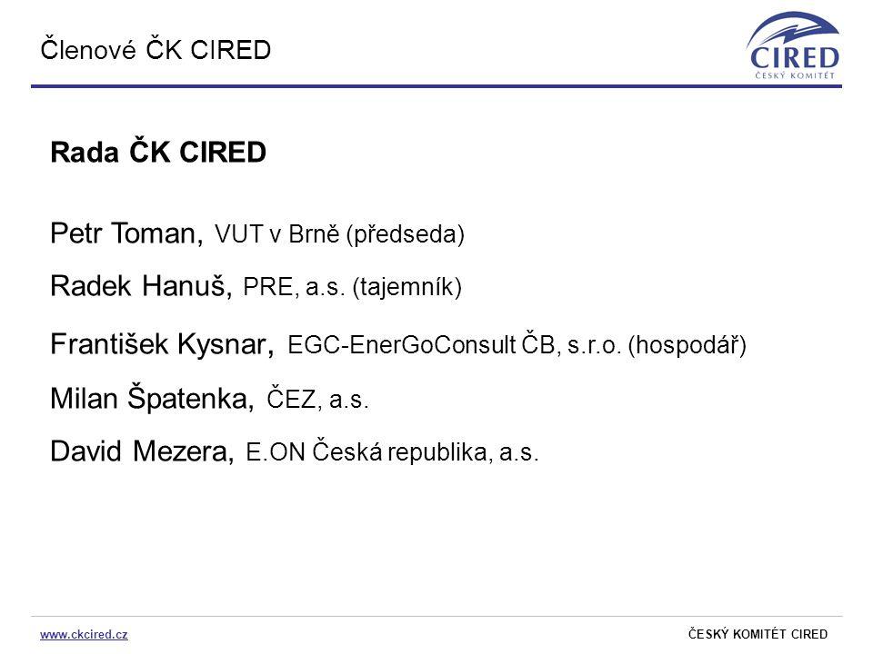 www.ckcired.czČESKÝ KOMITÉT CIRED Členové ČK CIRED Rada ČK CIRED Petr Toman, VUT v Brně (předseda) Radek Hanuš, PRE, a.s. (tajemník) František Kysnar,