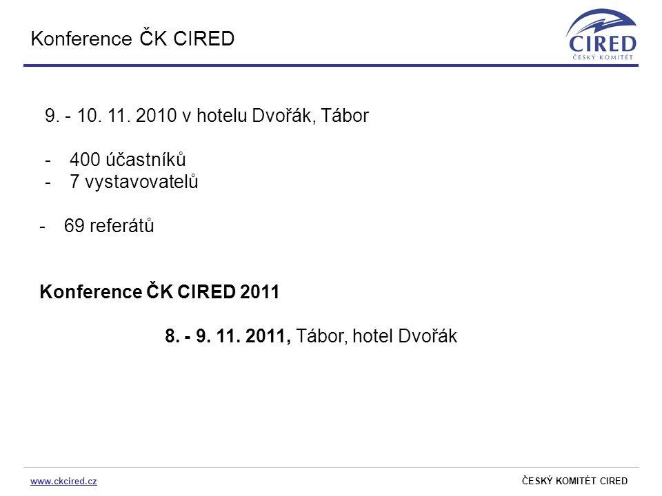 www.ckcired.czČESKÝ KOMITÉT CIRED Konference ČK CIRED 9. - 10. 11. 2010 v hotelu Dvořák, Tábor -400 účastníků -7 vystavovatelů -69 referátů Konference