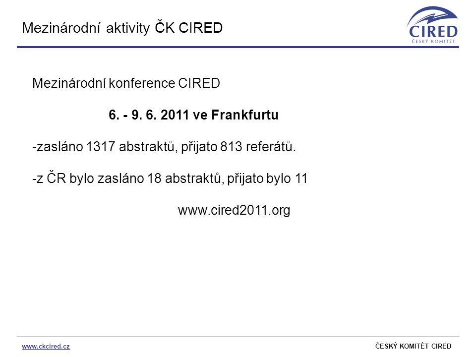 www.ckcired.czČESKÝ KOMITÉT CIRED Mezinárodní aktivity ČK CIRED Mezinárodní konference CIRED 6. - 9. 6. 2011 ve Frankfurtu -zasláno 1317 abstraktů, př