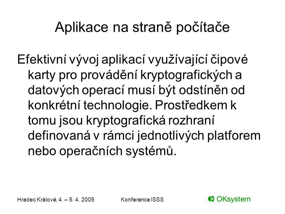 Hradec Králové, 4. – 5. 4. 2005Konference ISSS Aplikace na straně počítače Efektivní vývoj aplikací využívající čipové karty pro provádění kryptografi